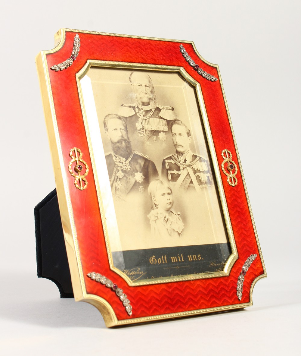 Lot 1666 - A SUPERB RUSSIAN FABERGE STYLE SILVER GILT AND ENAMEL PHOTOGRAPH FRAME, set with diamonds and