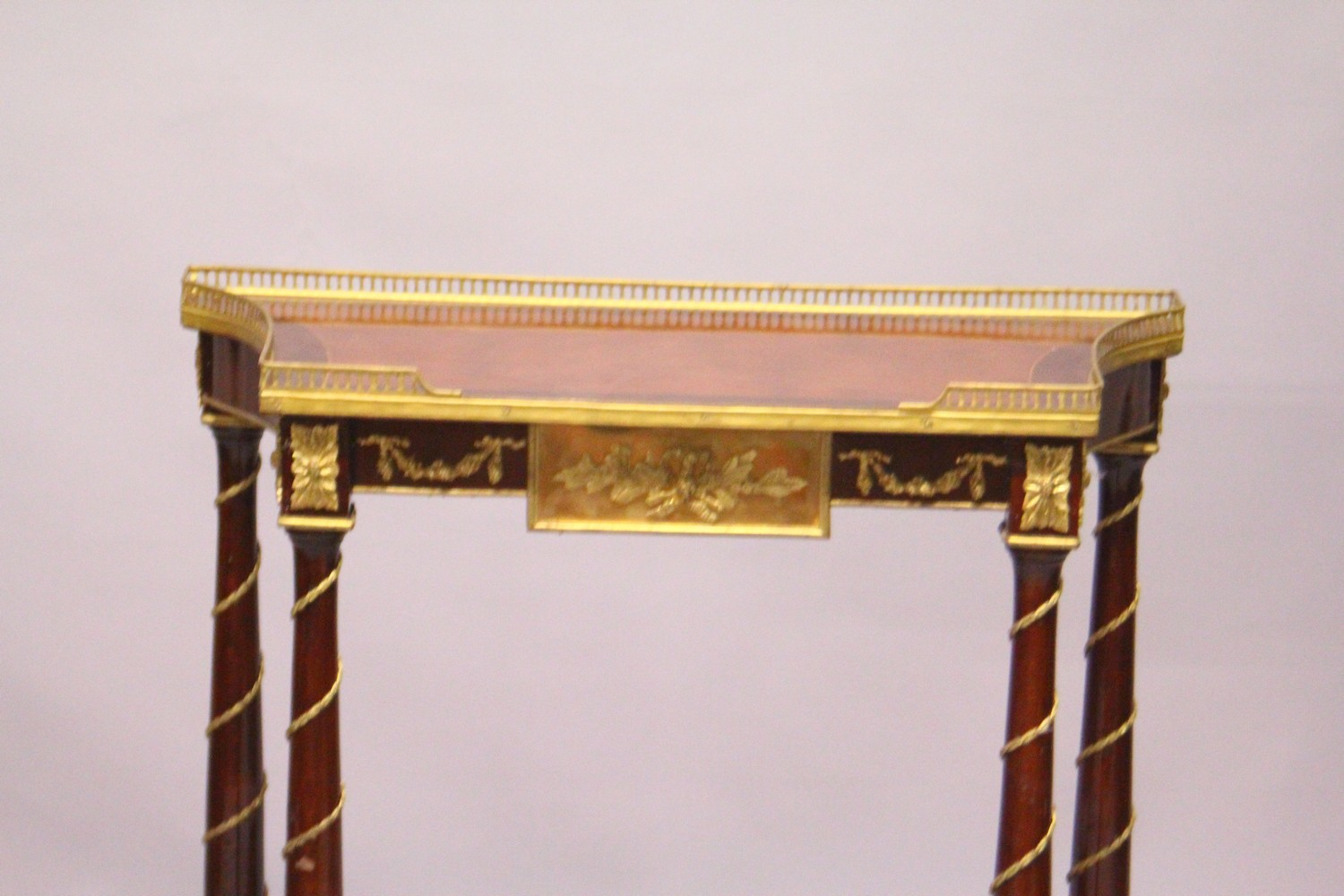 Lot 1016 - A FRENCH STYLE MAHOGANY AND ORMOLU TWO-TIER CONSOLE TABLE. 2ft 4ins wide x 2ft 9ins high x 1ft