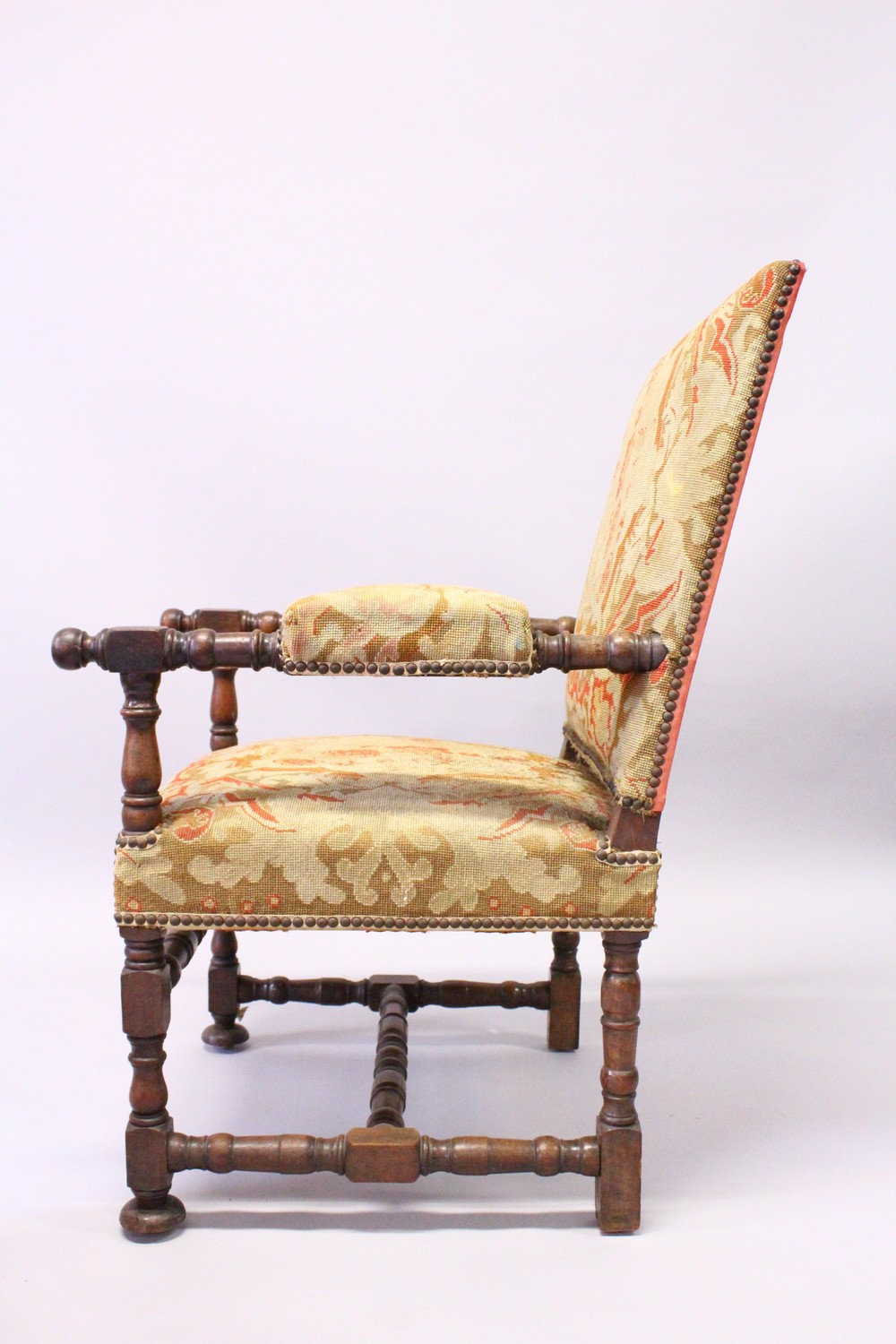 Lot 1019 - A GOOD PAIR OF 19TH CENTURY WALNUT FRAMED OPEN ARMCHAIRS, with tapestry upholstered backs, arms