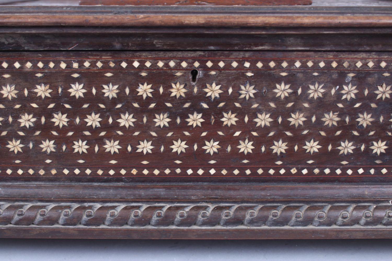 Lot 11 - A GOOD ISLAMIC SPANISH BONE INLAID BOX, POSSIBLY 16TH CENTURY, with 18th Century feet, 43cm long,