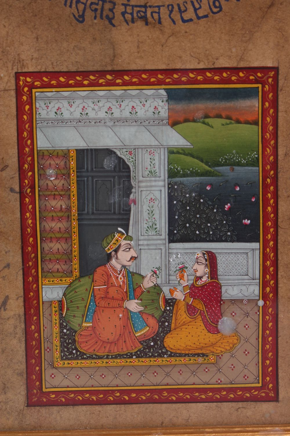 Lot 36 - A SET OF FOUR FRAMED 19TH CENTURY INDIAN HAND PAINTED MUGHAL ART, each painting framed and with an