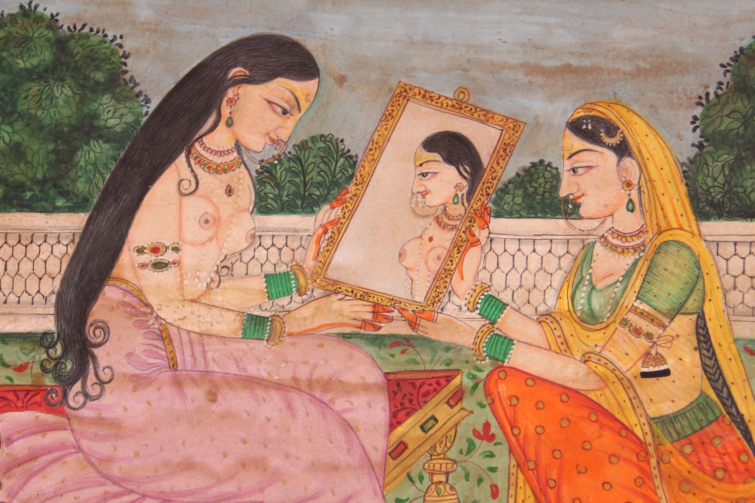 Lot 59 - A GOOD 19TH / 20TH CENTURY INDO PERSIAN MUGHAL ART HAND PAINTED EROTIC PICTURE ON PAPER , the