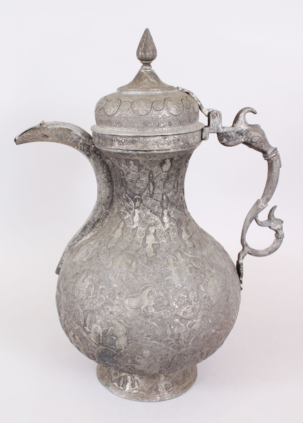 Lot 25 - A GOOD 18TH-19TH CENTURY PERSIAN TINNED COPPER JUG with figured decoration.