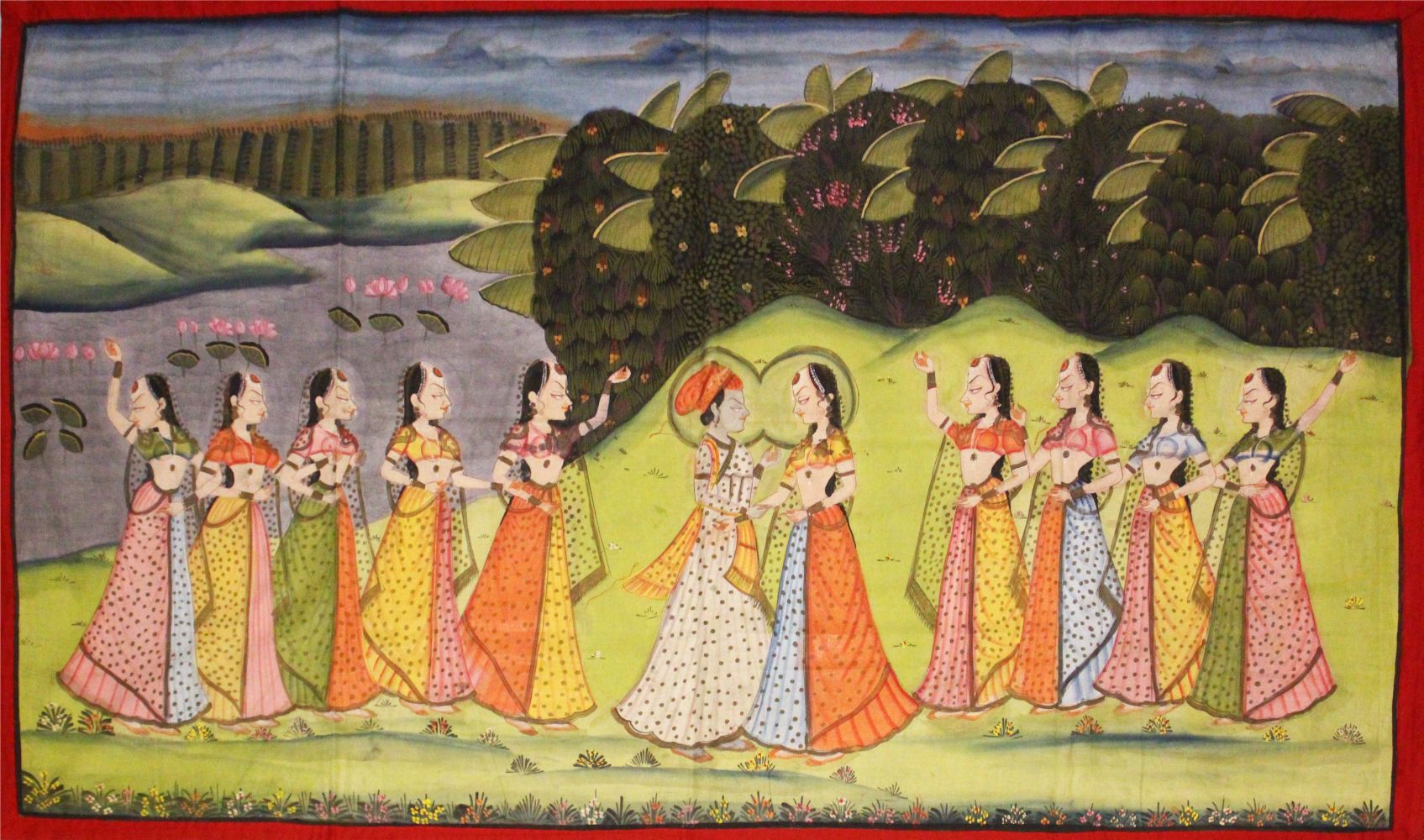 Lot 56 - A VERY GOOD LARGE 19TH CENTURY INDIAN COTTON / TEXTILE PICHWAI PAINTING, the textile depicting