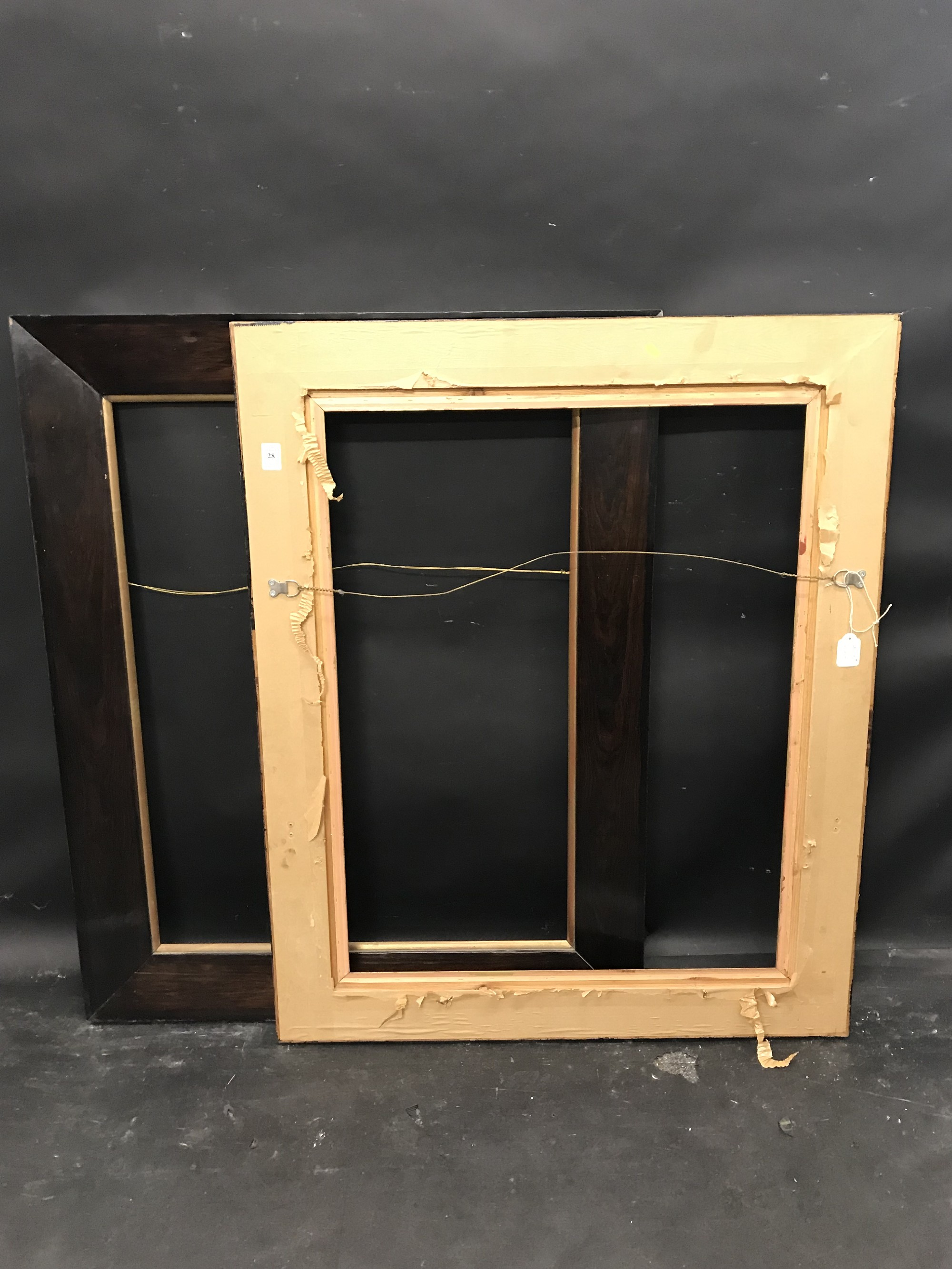 "Lot 28 - 20th Century English School. A Darkwood Frame, with a Gilt Slip, 30"" x 23.5"", and a companion piece,"