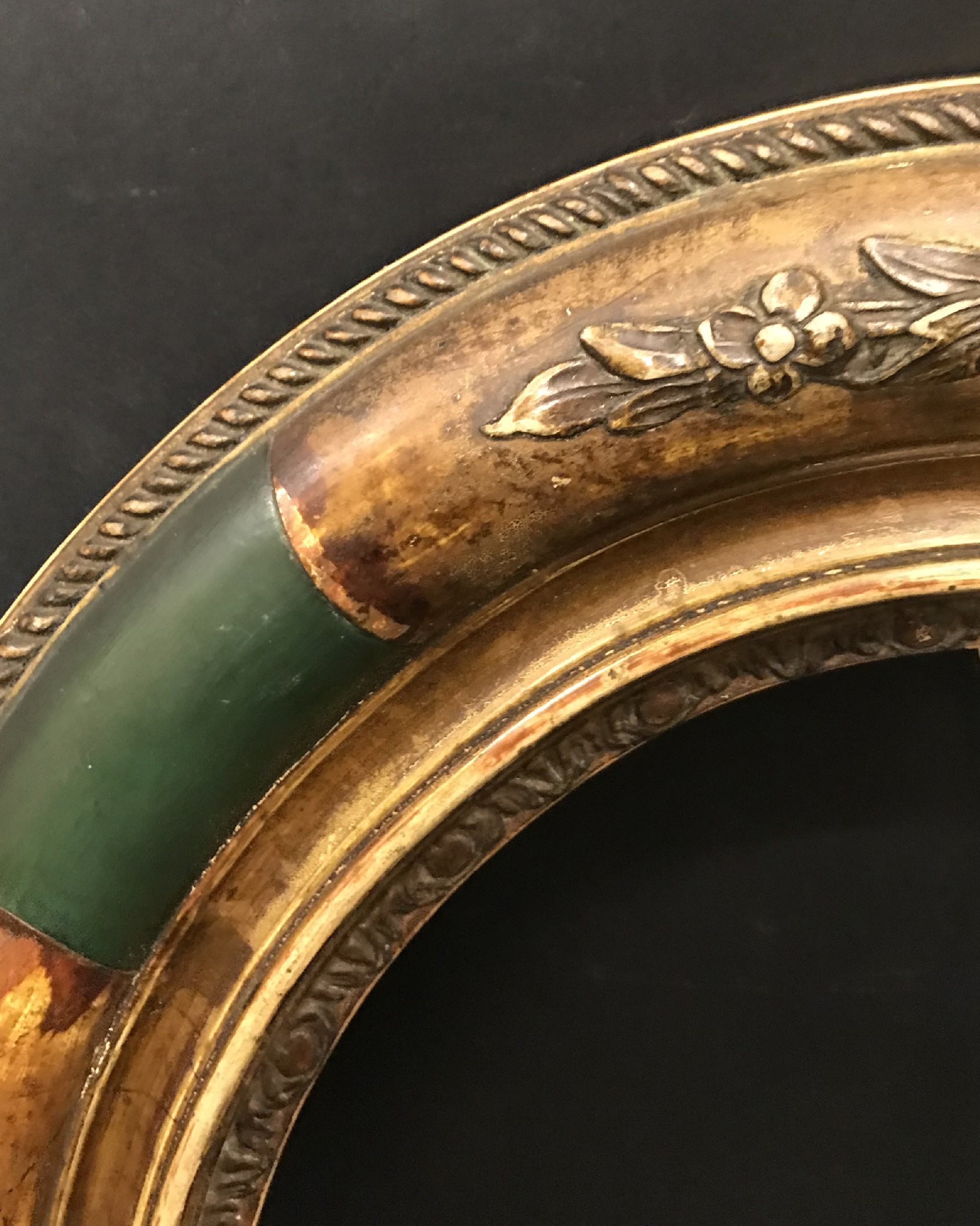 """Lot 56 - 19th Century English School. A Gilt and Green Painted Composition Frame, Oval, 10.5"""" x 8.5""""."""