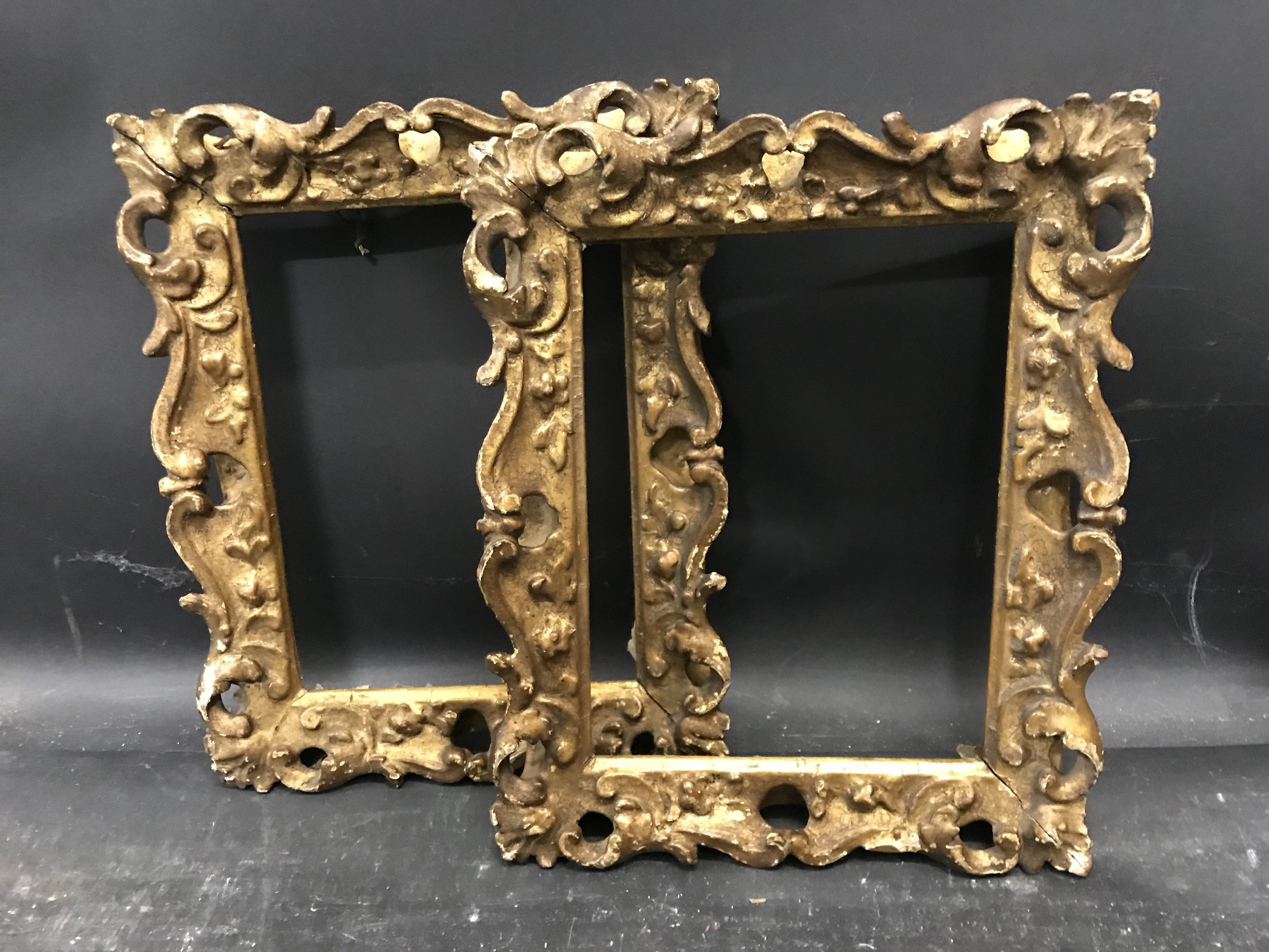 Lot 33 - 19th Century English School. A Carved Giltwood Frame, with Swept and Pierce Centres and Corners, 7.