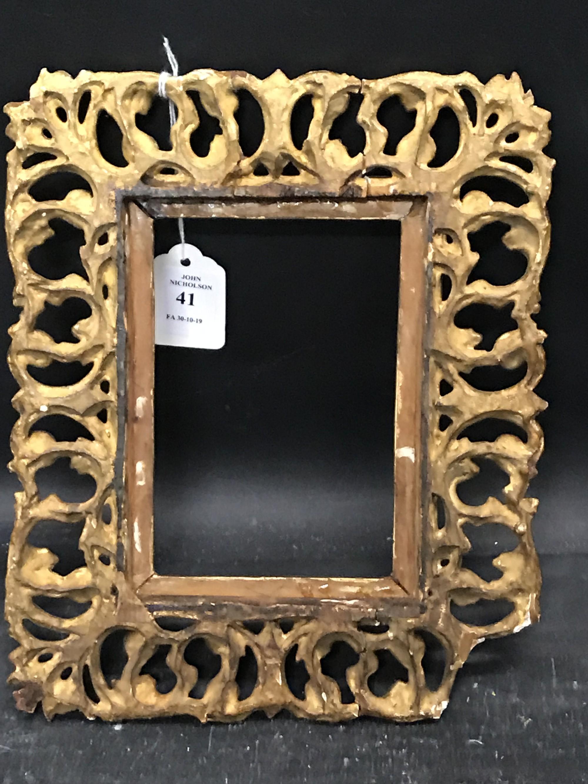 "Lot 41 - 19th Century Italian School. A Carved Giltwood Florentine Frame, 5.75"" x 4""."