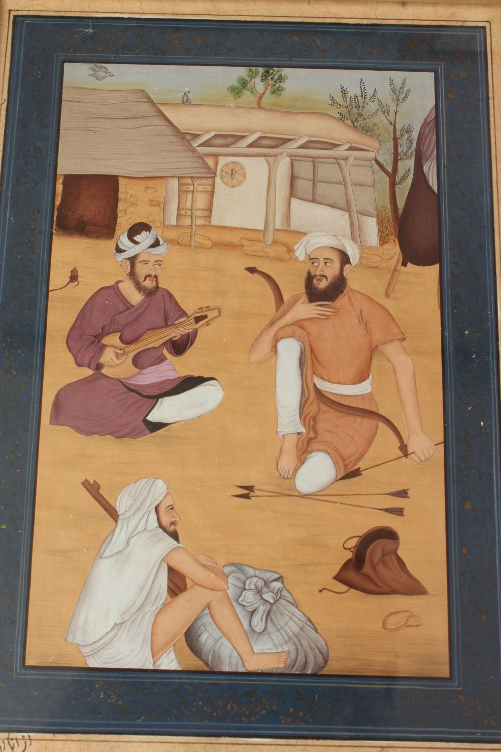 Lot 250 - INDIAN SCHOOL, THREE SEATED MALE FIGURES ON A BEACH, script to the reverse, together with five other