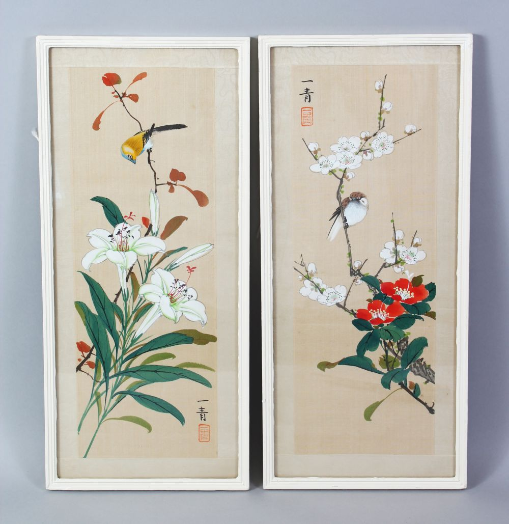 Lot 320 - A GOOD PAIR OF CHINESE SCHOOL PAINTINGS ON SILK, a bird perched in a prunus tree, with its companion