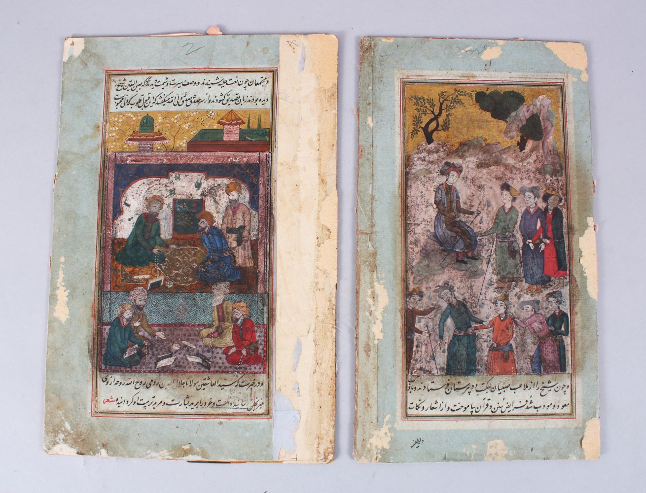 Lot 221 - TWO GOOD PERSIAN MINIATURE PAINTINGS ON BOARD POSSIBLY 17TH - 18TH CENTURY, each painting