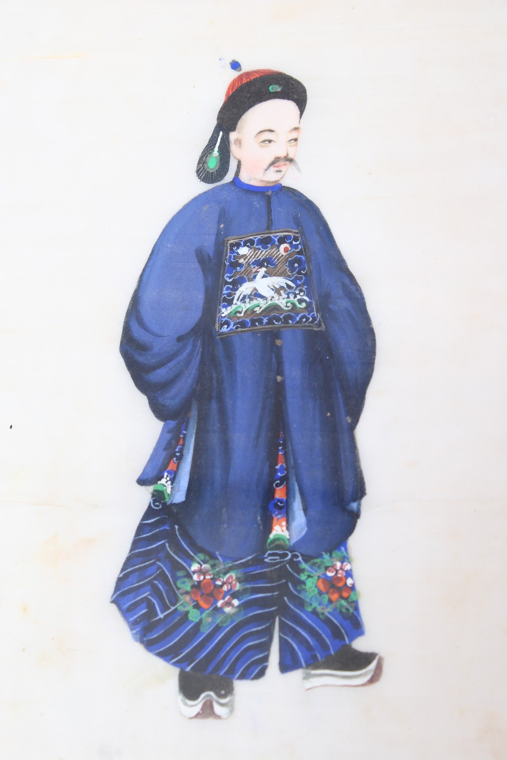 Lot 430 - SEVEN 19TH CENTURY CHINESE RICE PAPER WATER COLOUR FRAMED PICTURES, each depicting an immortals,