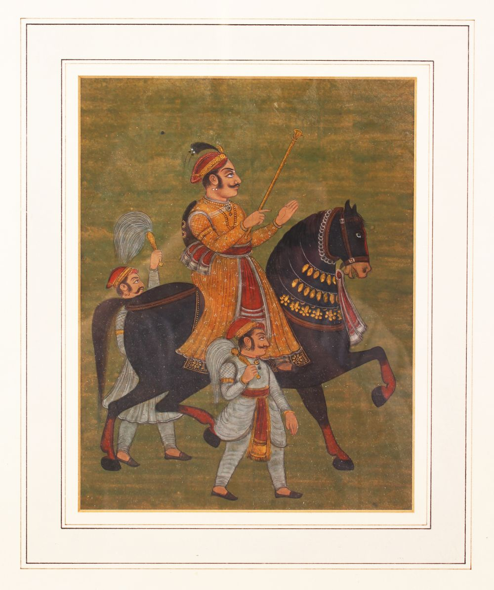 Lot 251 - A FINE 18TH - 19TH CENTURY MUGHAL INDIAN MINIATURE PAINTING OF NOBLEMAN UPON HORSEBACK, framed