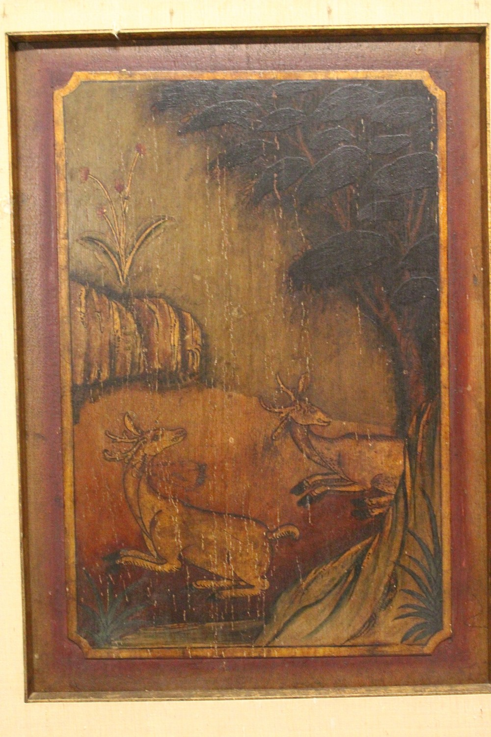 Lot 382 - A SET OF FOUR 19TH CENTURY CHINESE FRAMED PAINTED WOOD PANELS, each panel with a varying scene of