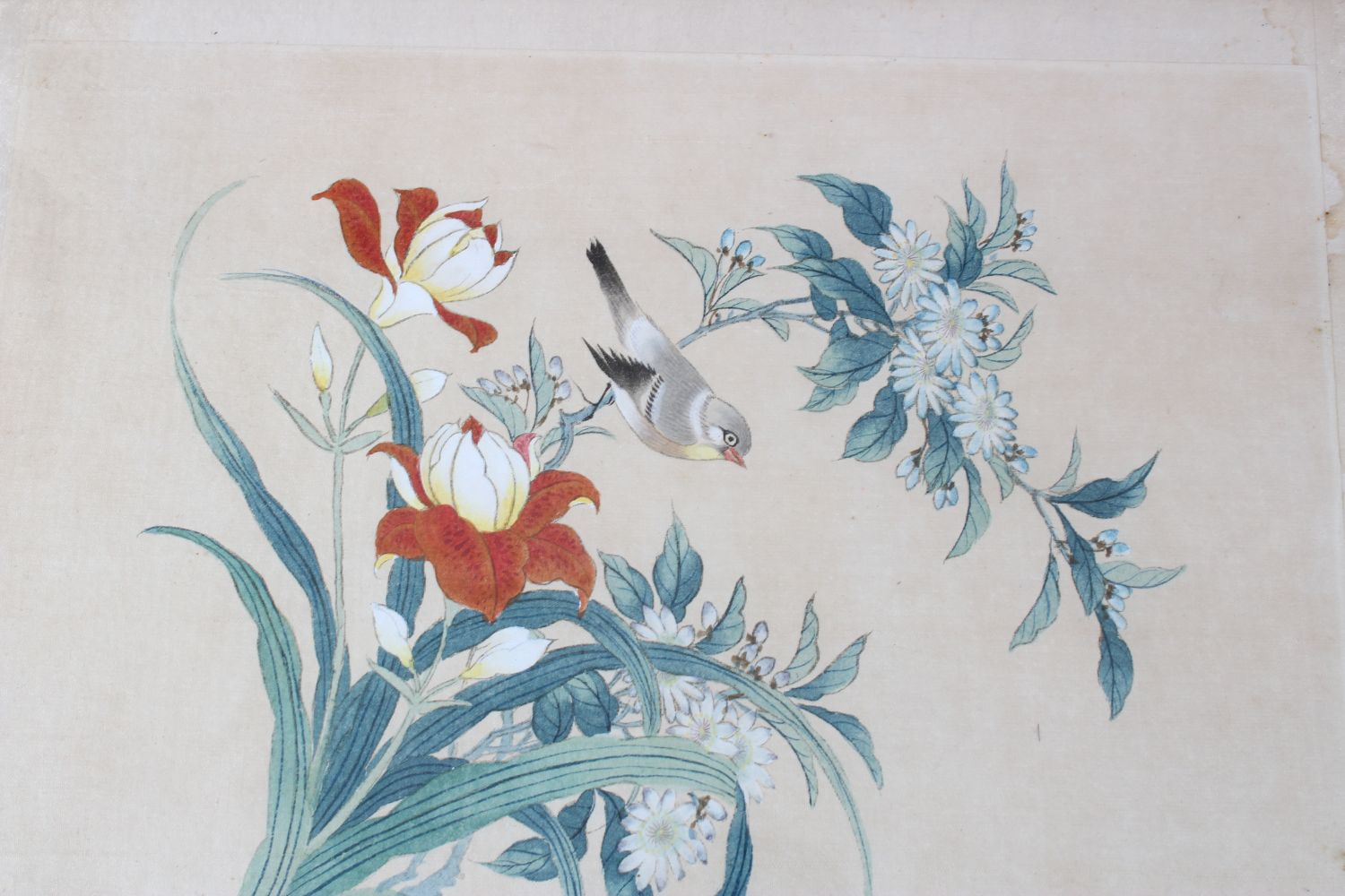 Lot 321 - A GROUP OF SEVEN CHINESE PAINTINGS ON SILK, various subject matters to include birds in