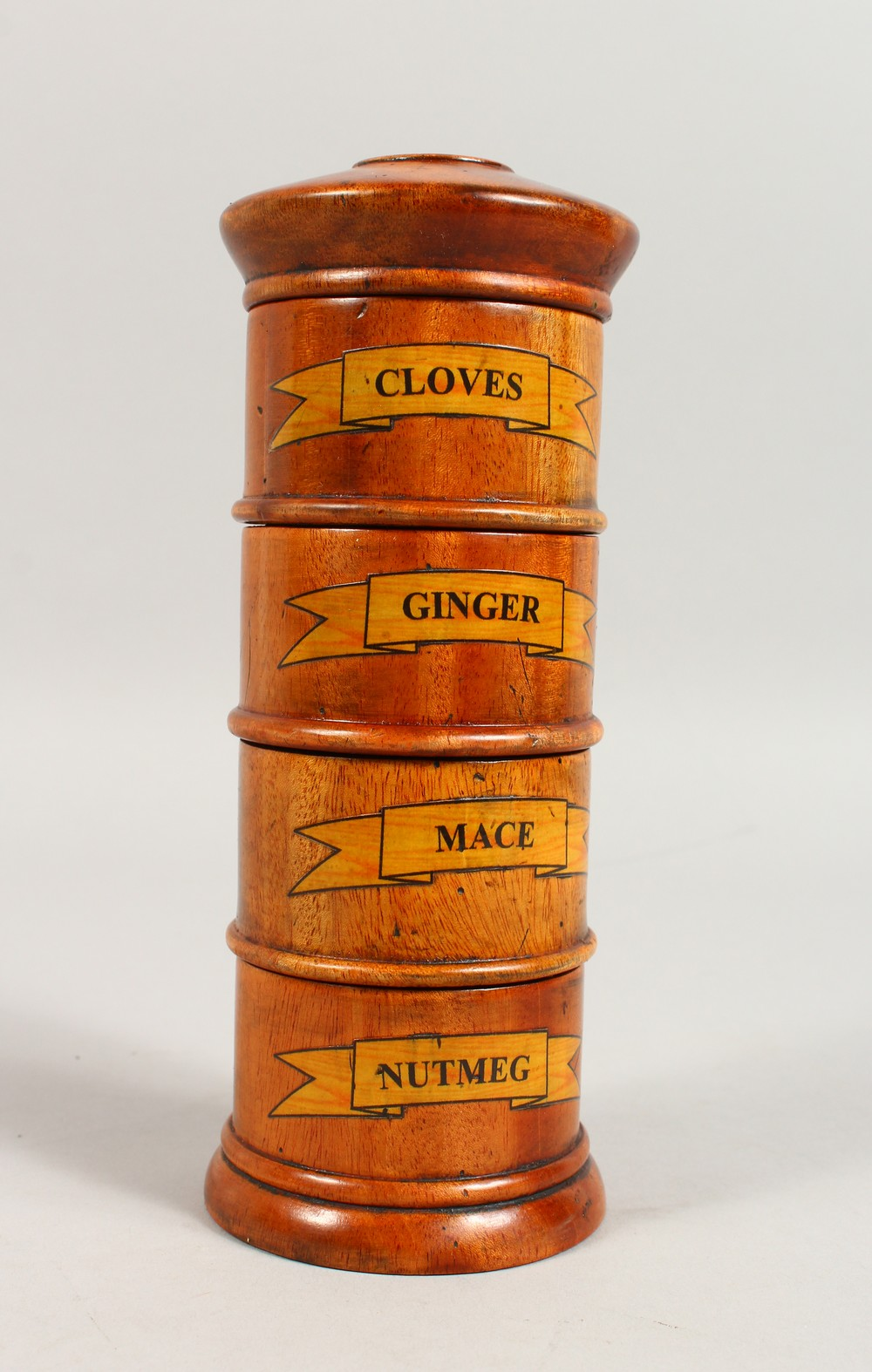 Lot 1558 - A FOUR TIER SPICE TOWER. 7.5ins high.