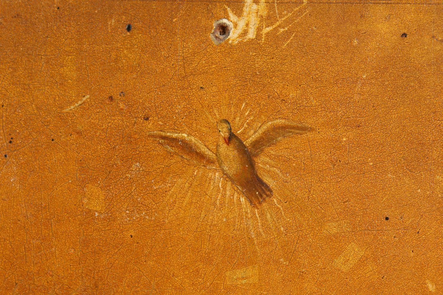 Lot 1713 - A GOOD ICON, on a wooden panel. See label on reverse. 13ins x 10ins.