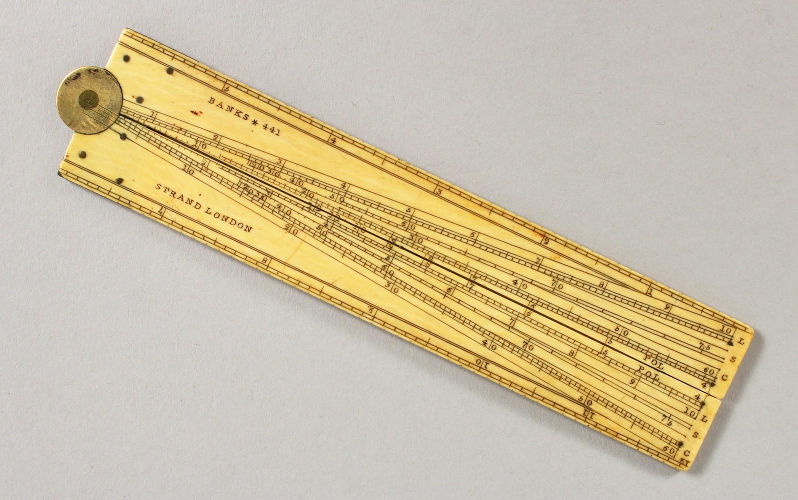 Lot 1772 - A BANKS OF LONDON 12-INCH FOLDING IVORY RULE.