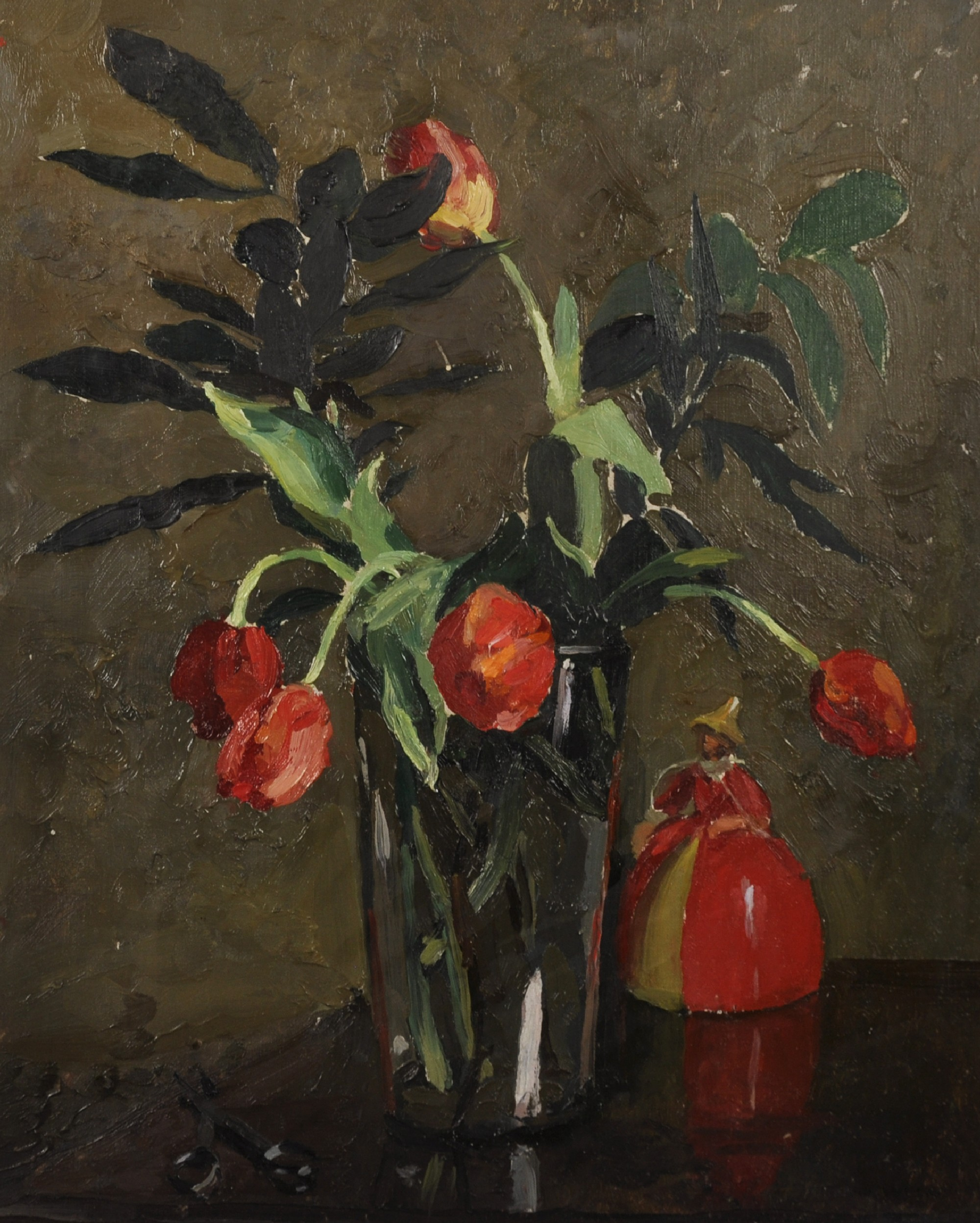 Lot 348 - Lady Elizabeth Chalmers (act. 1894-1939) British. Still Life of Tulips in a Glass Vase, with a China