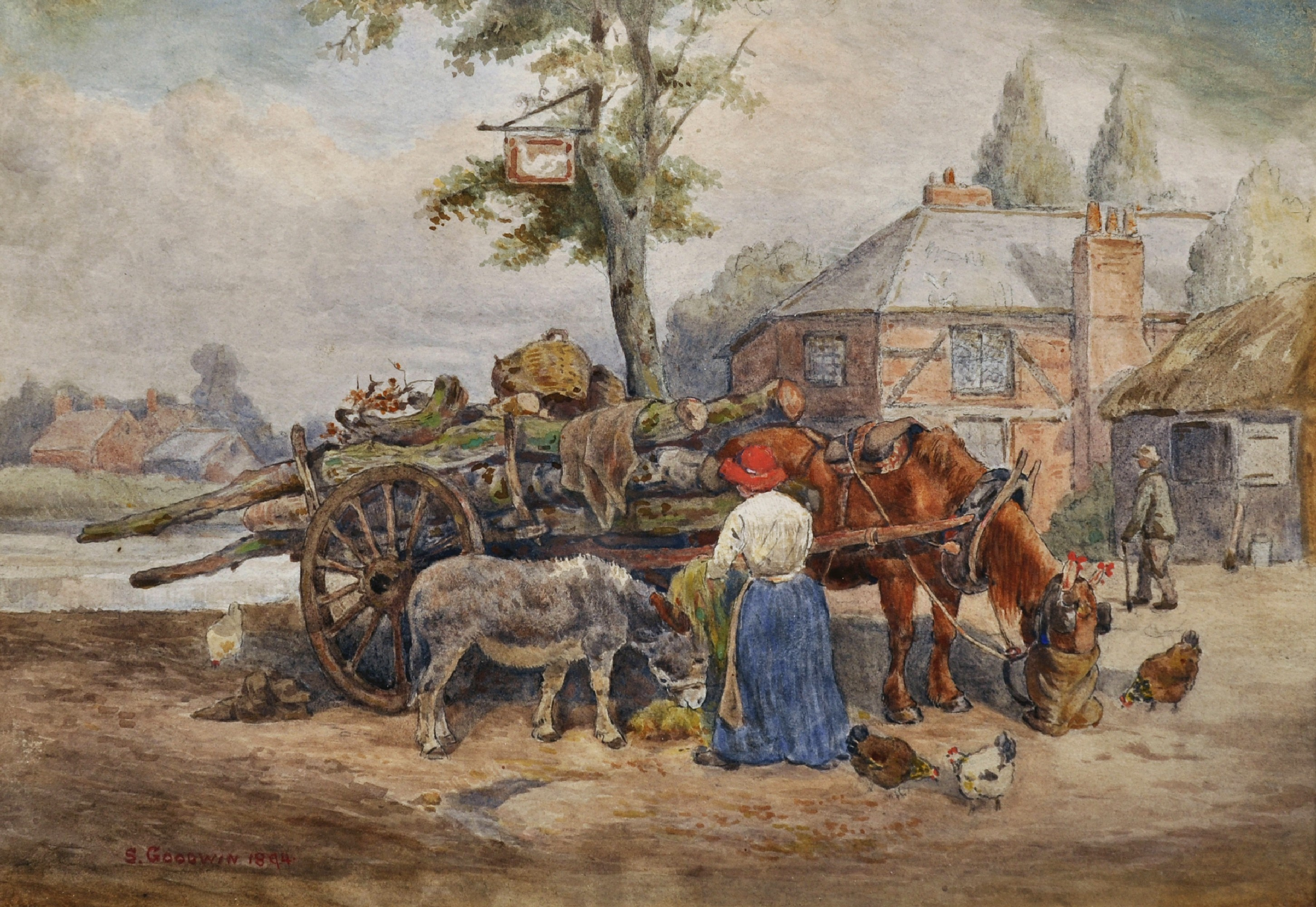 Lot 166 - Sidney Paul Goodwin (1867-1944) British. A Logging Team by the Swan Inn, Watercolour, Signed, 10""