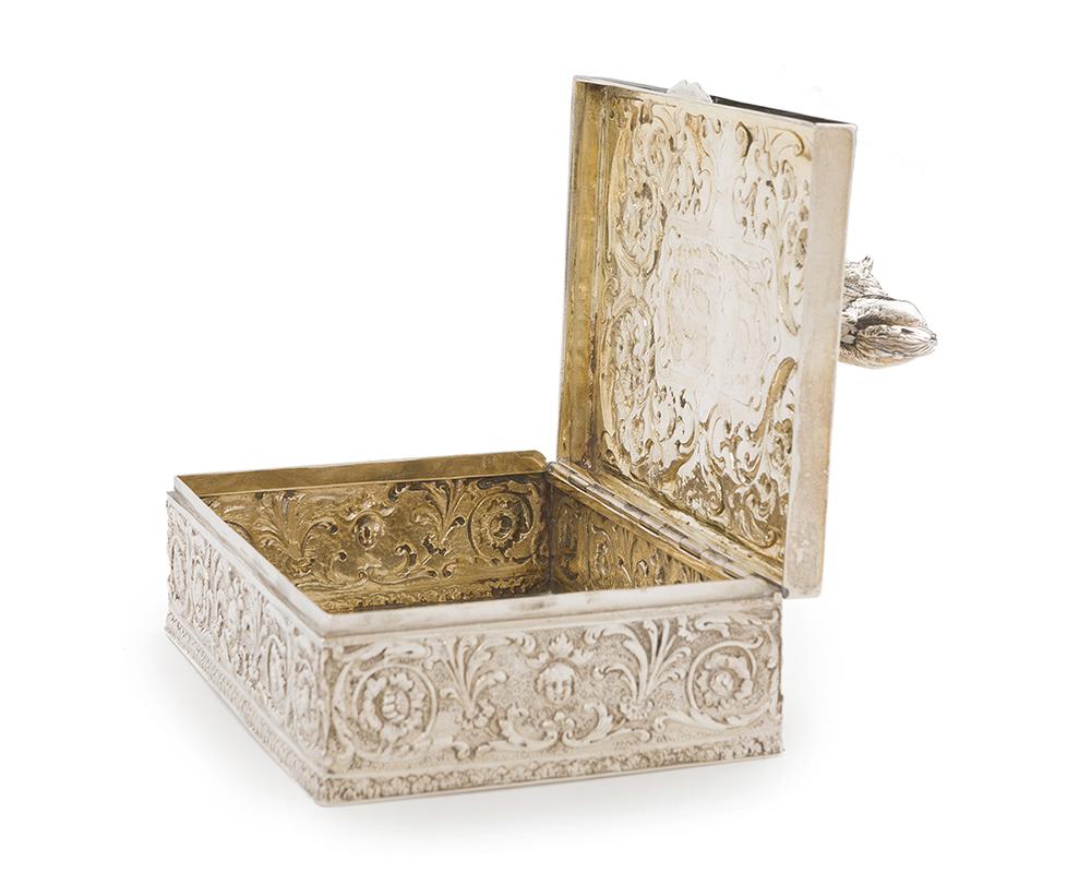 Lot 1229 - A German repoussé silver lidded box