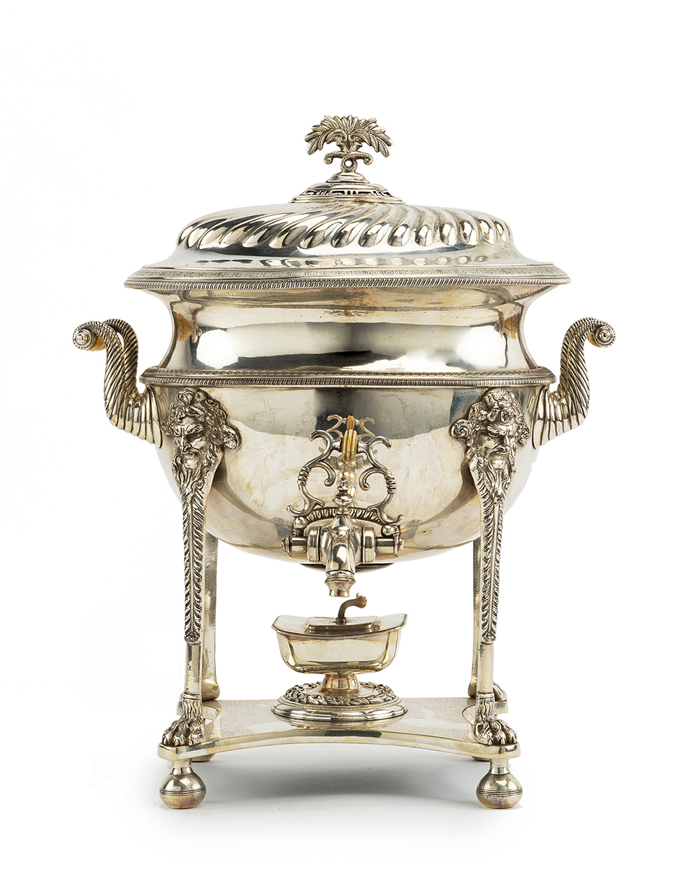 Lot 1406 - An English silver plated hot water urn