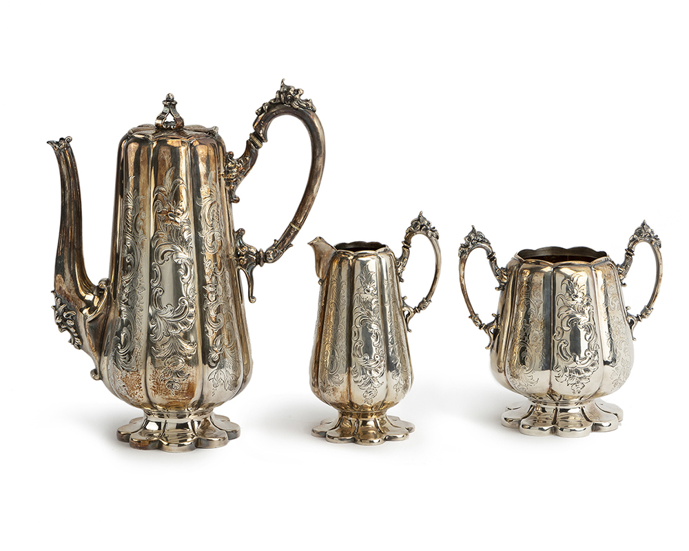 Lot 1408 - A silver plated coffee service