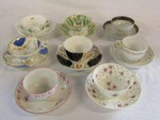 Various 19th century English teacups and saucers (af)