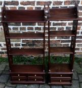 Two small mahogany shelf units