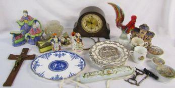 2 boxes of assorted ceramics inc Goebel and Wedgwood, Smiths mantle clock (af),
