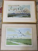 3 large framed Peter Scott prints signed in pencil with studio blind stamp inc 'Pink feet - the