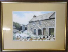 Framed original pen and ink drawing 'Wesley's Cottage' by Ian Pethers (b.