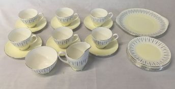 Adderley half tea service comprising cups, saucers, sugar bowl, milk jug,