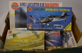 Airfix model kits including Avro Lancaster BIII Dam Buster & Supermarine Spitfire Mk Vc / Seafire