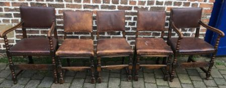 Two oak and leather seated carver chairs and three similar dining chairs.