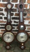 Pair or near pair of 19th century onion top barometers in need of restoration.