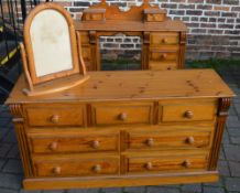 Pine chest of drawers and a mirror frame