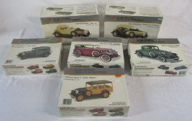 6 vintage boxed American model car kits - 1929 Ford Model 'A' Station Wagon,