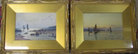Pair of gilt framed watercolours by John McDougal RCA (1851-1945) 'Evening boats returning' and