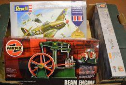 Various model kits including Revell Hawker Hurricane & Beam Engine