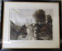 Large framed etching 'River Vesle at Reims' signed in pencil Camila Fonce 87 cm x 73 cm (size
