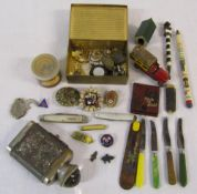 Various items inc costume jewellery, pen knives,