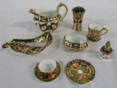 Selection of Royal Crown Derby imari pattern china inc miniature cup, saucer and plate, jug,