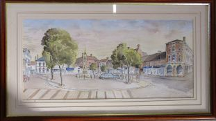 Framed watercolour of Horncastle market place 87 cm x 50 cm (size including frame)