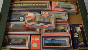 Approx 10 Lima boxed wagons and carriages