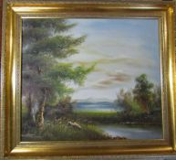 Gilt framed oil of canvas of a rural scene signed Minteen 73 cm x 65 cm (size including frame)