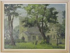 Oil on board by Clive Browne 'Old Clee Church Grimsby' 37 cm x 28 cm (size including frame)