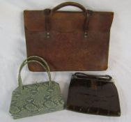 2 vintage snakeskin style handbags inc Dollargrand & a leather satchel