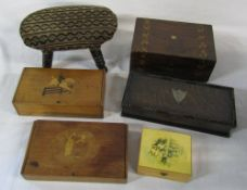 Various wooden boxes & a miniature foot stool
