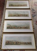 4 framed Leicestershire hunting prints - Full Cry Whifsendine Pasture, The Meeting Kirby Gate,
